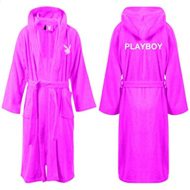26ef8cea17c Playboy Bunny Womens Pink Jenny Hooded Fleece Bathrobe Ladies Towelling  Adult Dressing Gown Bath Robe (X Small)  Amazon.co.uk  Clothing