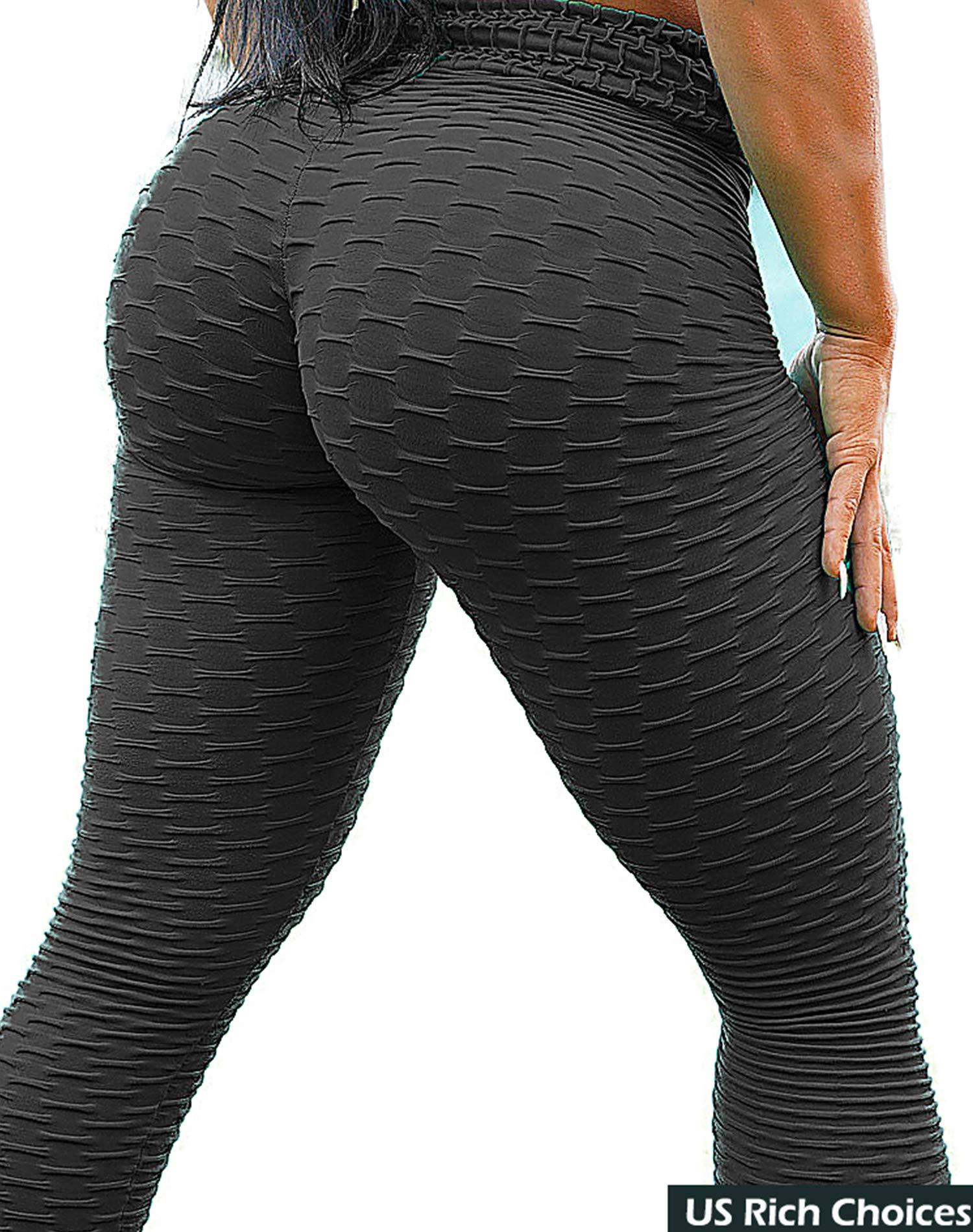 SEASUM Women's High Waist Yoga Pants Tummy Control Slimming Booty Leggings Workout Running Butt Lift Tights S