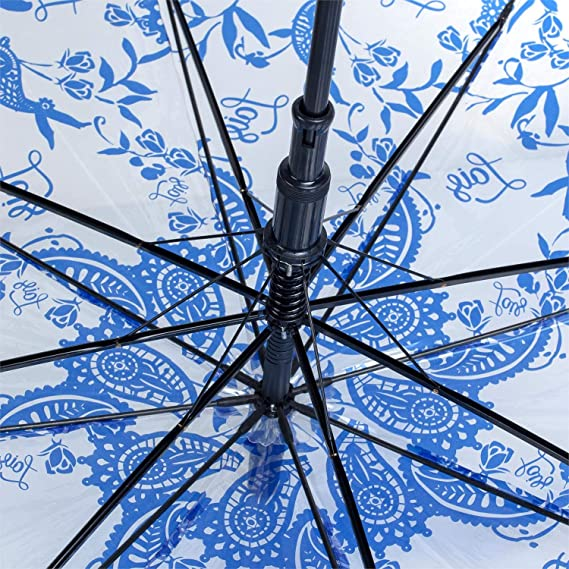 Lois - Paraguas Clásico Estampado Transparente. Apertura Automática. 8 Varillas. Anti Viento. Mango Curvo. Estructura Reforzada.