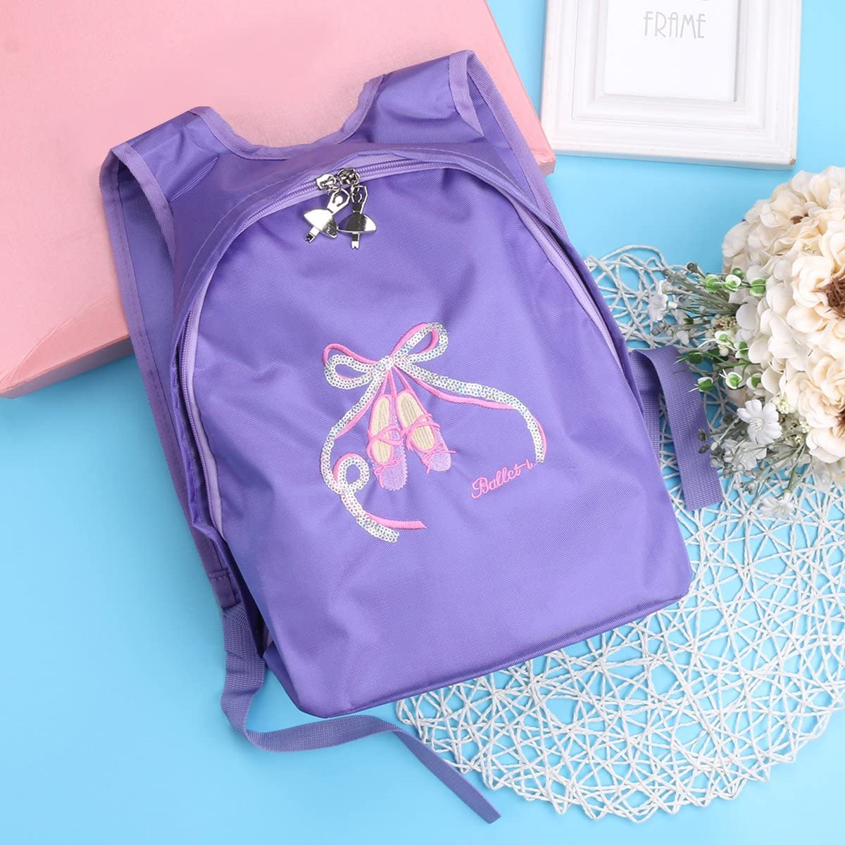 IEFIEL Girls Ballet Shoes Embroidered Dance Shoulder Bag School Gym Enhance Backpack Black One/_Size