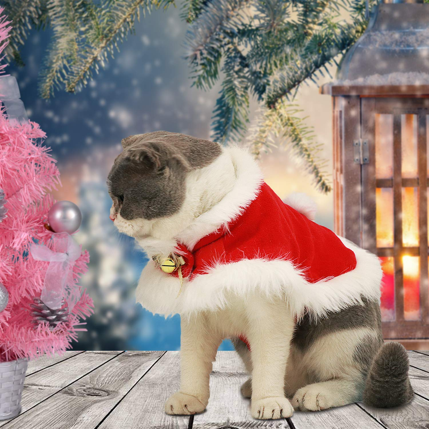 Legendog Cat Costume Christmas Adjustable Cat Santa Clothing Pet Costumes Pet Apparel for Small Dogs and Cats (Cat Christmas Costume with Bell)