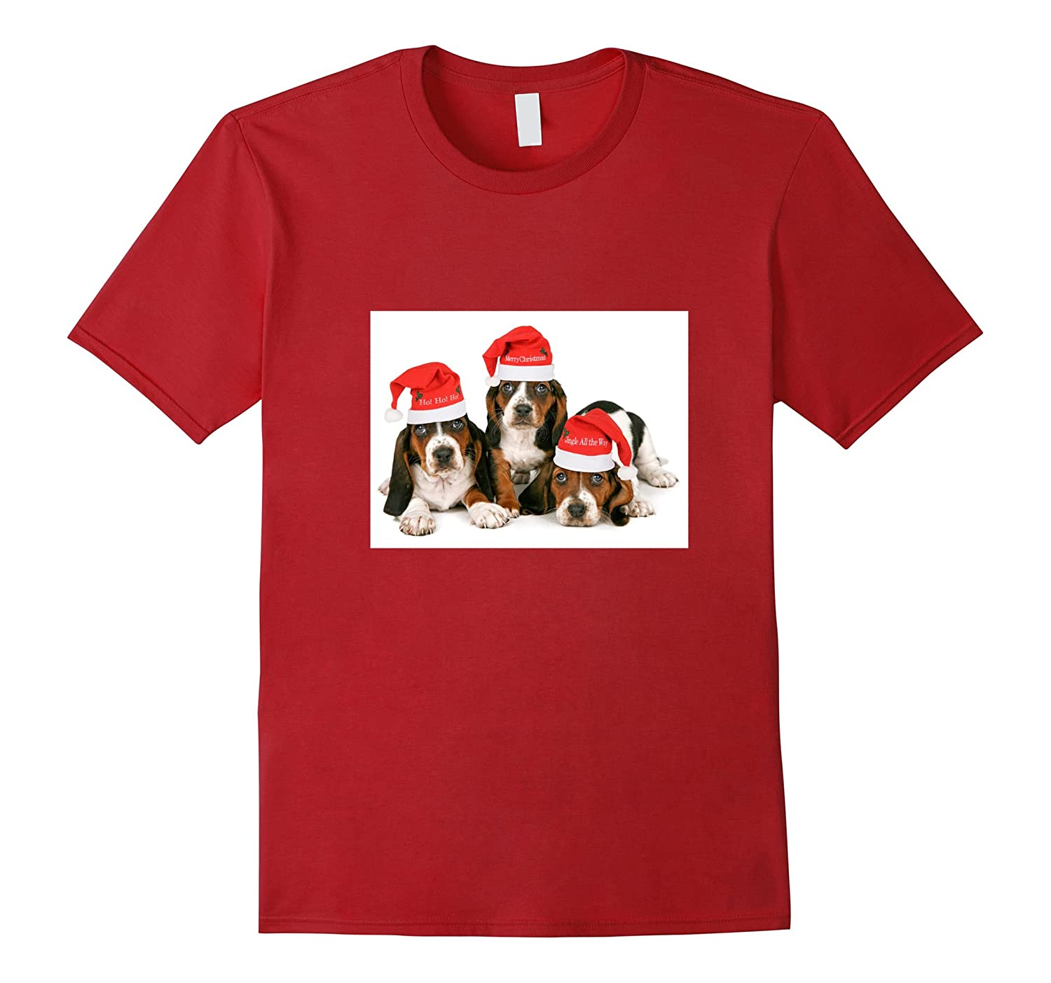 Basset Hound Christmas T-shirt Dogs with Stocking Caps-CL