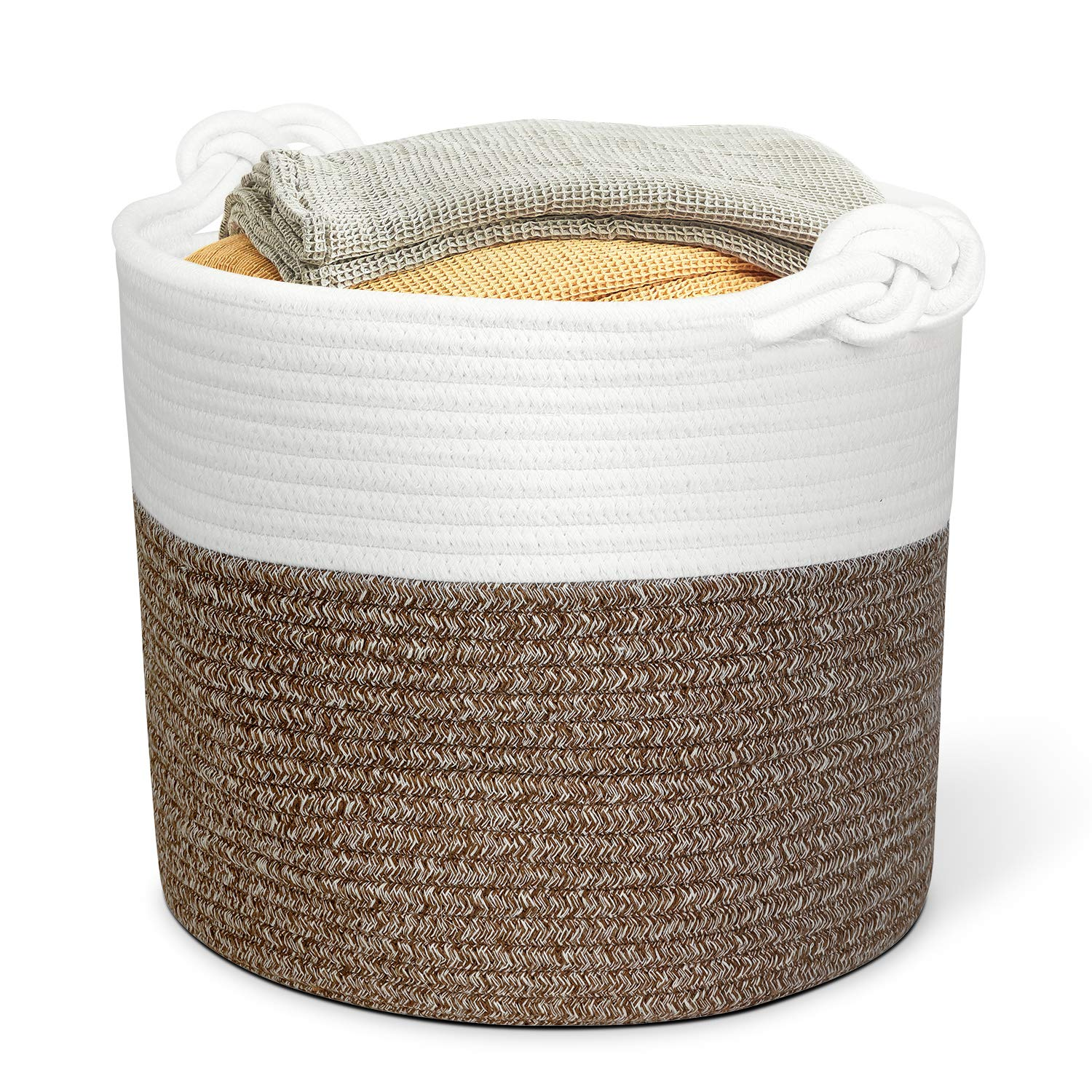 Polarduck Cotton Rope Basket 13 x 12 x 11 , Baby Laundry Basket, Laundry Hamper, Woven Blanket Basket, Nursery Bin Organizer, Toys Storage Basket with Lucky Knots Handle, Natural White Jute