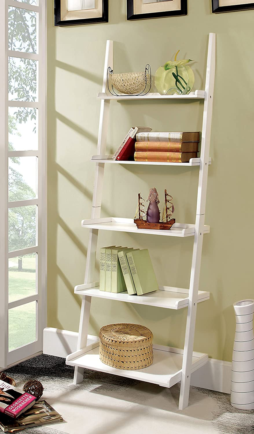amazoncom furniture of america klaudalie tier ladder style  - amazoncom furniture of america klaudalie tier ladder style bookshelfwhite kitchen  dining
