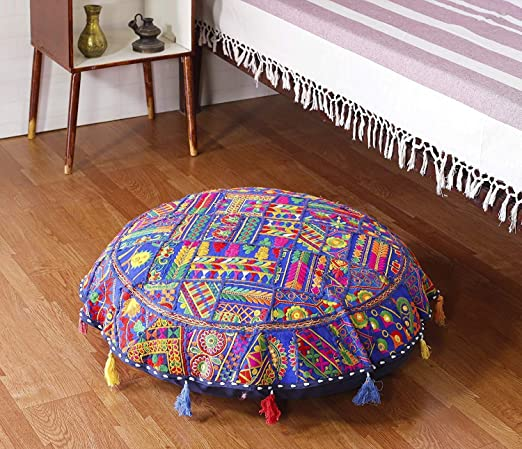 """Blue 18/"""" Indian Vintage Round Cushion Cover Boho Patchwork Floor Pillows Covers"""