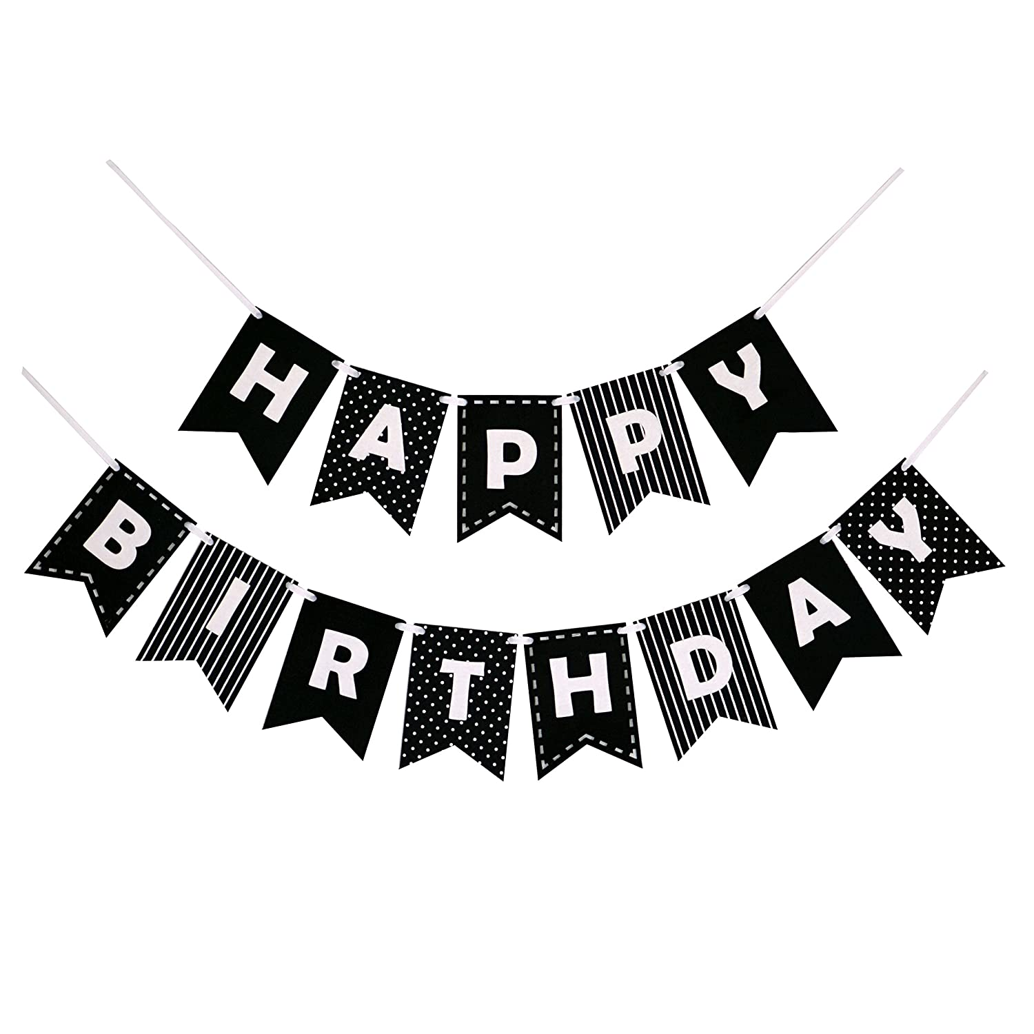 Amazon.com: Happy Birthday Banner Bunting Laser Cut Felt 60 inches wide - Black & White: Toys & Games