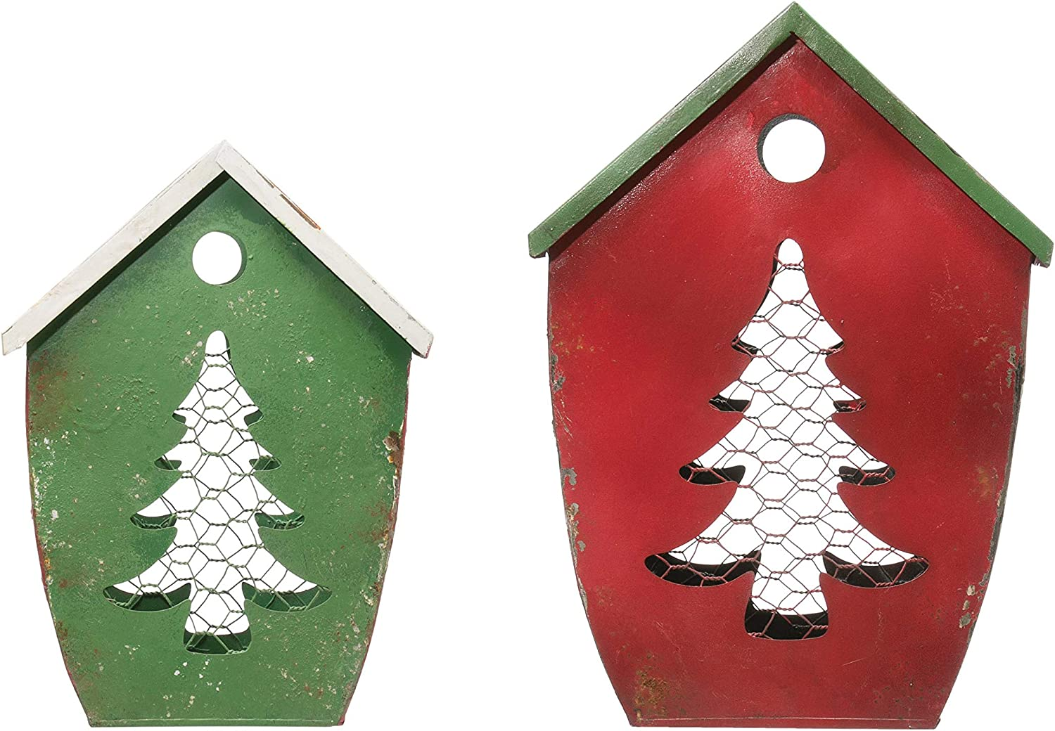 Creative Co-op Metal House Shaped Cut-Out Tree (Set of 2 Sizes) Containers, Red & Green