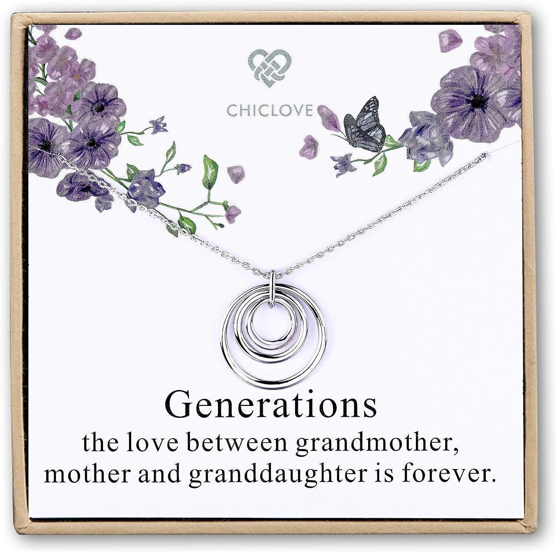 CHICLOVE Collar Generaciones - 3 Generaciones, Collar de 3 Círculos Collar de la Abuela Círculos entrelazados, Abuela, Regalo de la Abuela, Madre Abuela, día de la Madre Regalo