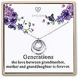 CHICLOVE Generations Necklace - 3 Generations, 3 Circle Necklace Grandma Necklace Interlocking Circles, for Grandma, Grandma Gift