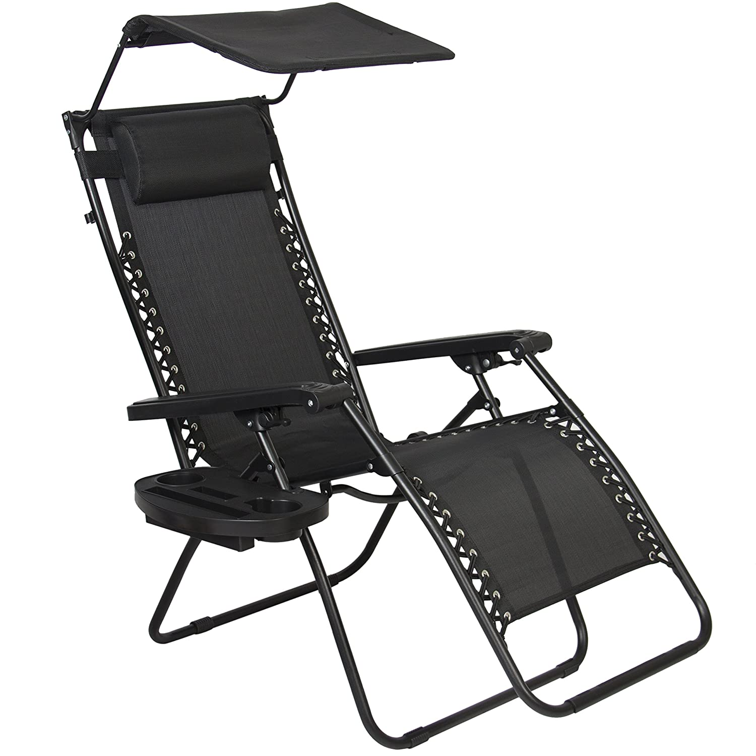Anti gravity chair camp - Amazon Com Best Choice Products Zero Gravity Canopy Sunshade Lounge Chair Cup Holder Patio Outdoor Garden Black Patio Lawn Garden