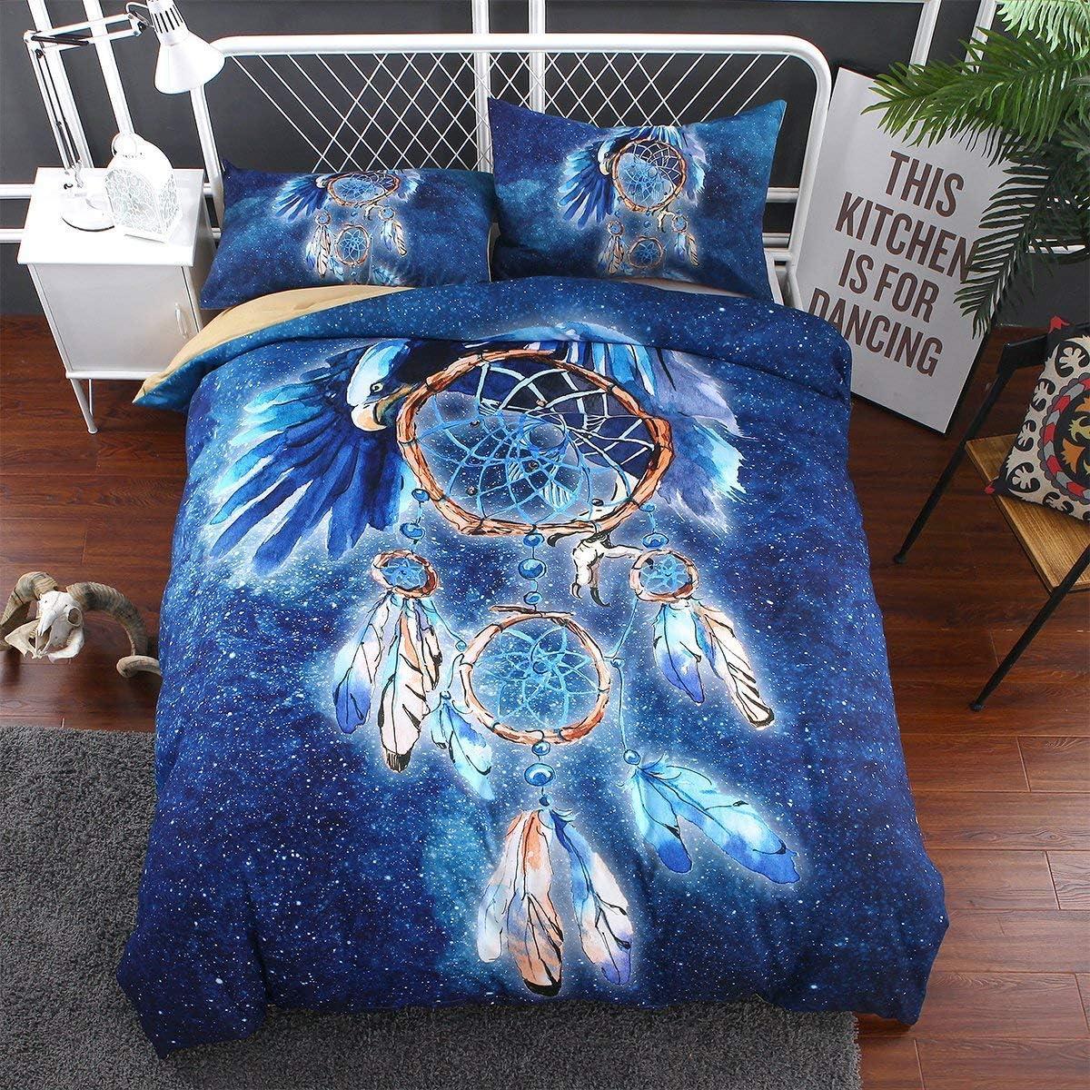 IMMIGOO Linge de Lit Housse de Couette 140 x 200 cm Bleu 1 Taie doreiller 50 x 75 cm Indien Attrape R/êves Ensemble de Literie Dreamcatcher Oiseaux D/écoration