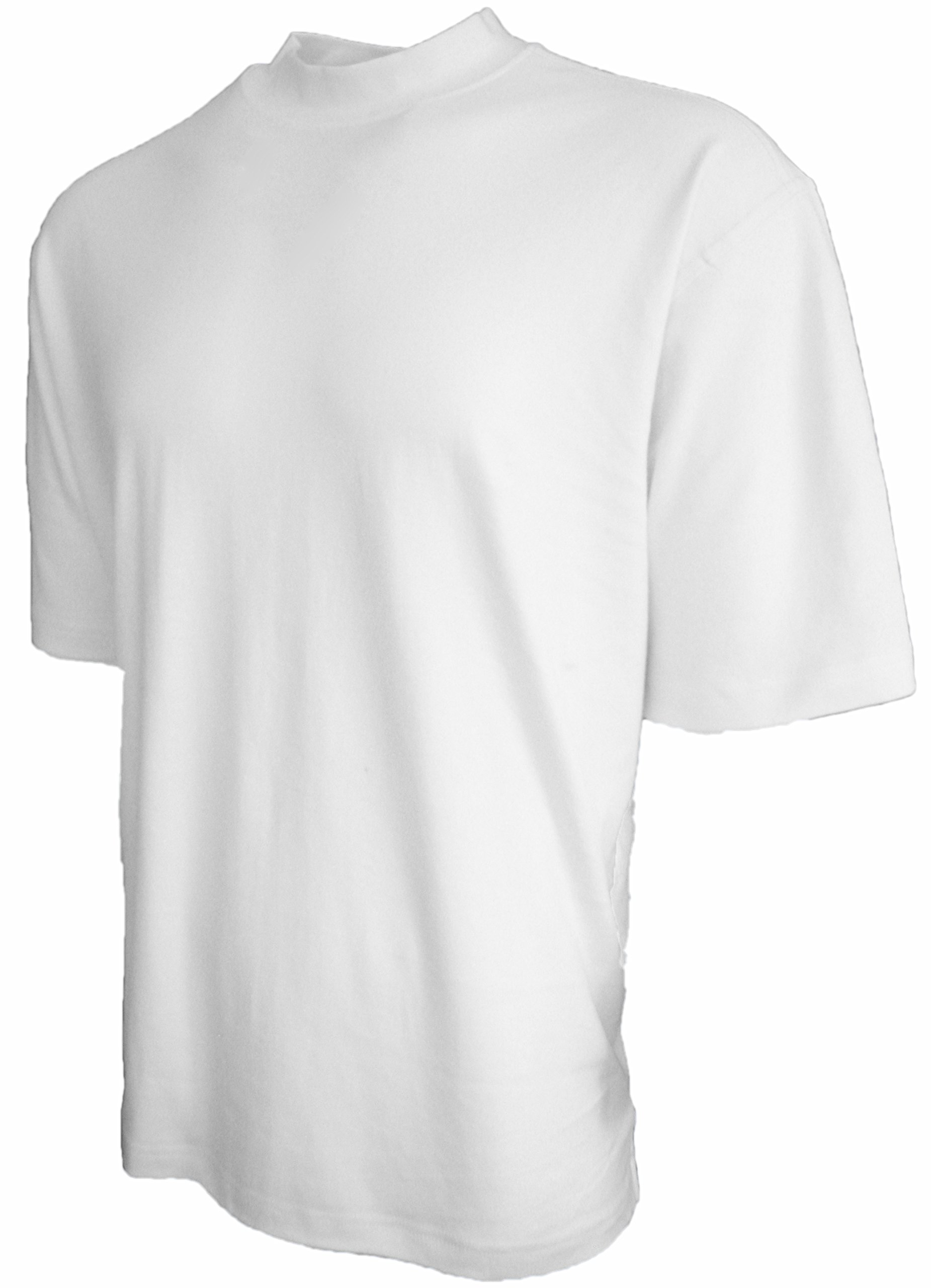 Good Life Mens Luxury Cotton Mock Neck Shirt Pre-Shrunk (Medium, White)