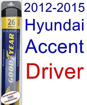 2012 - 2015 Hyundai Accent hoja de limpiaparabrisas de repuesto Set/Kit (Goodyear limpiaparabrisas blades-assurance) (2013,2014): Amazon.es: Coche y moto