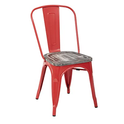 amazon com design tree home french style cafe chair red galvanized