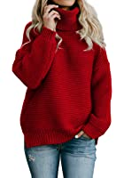 Beautife Womens Turtleneck Long Sleeve Sweater Oversized Cable Knit Pullover Sweaters