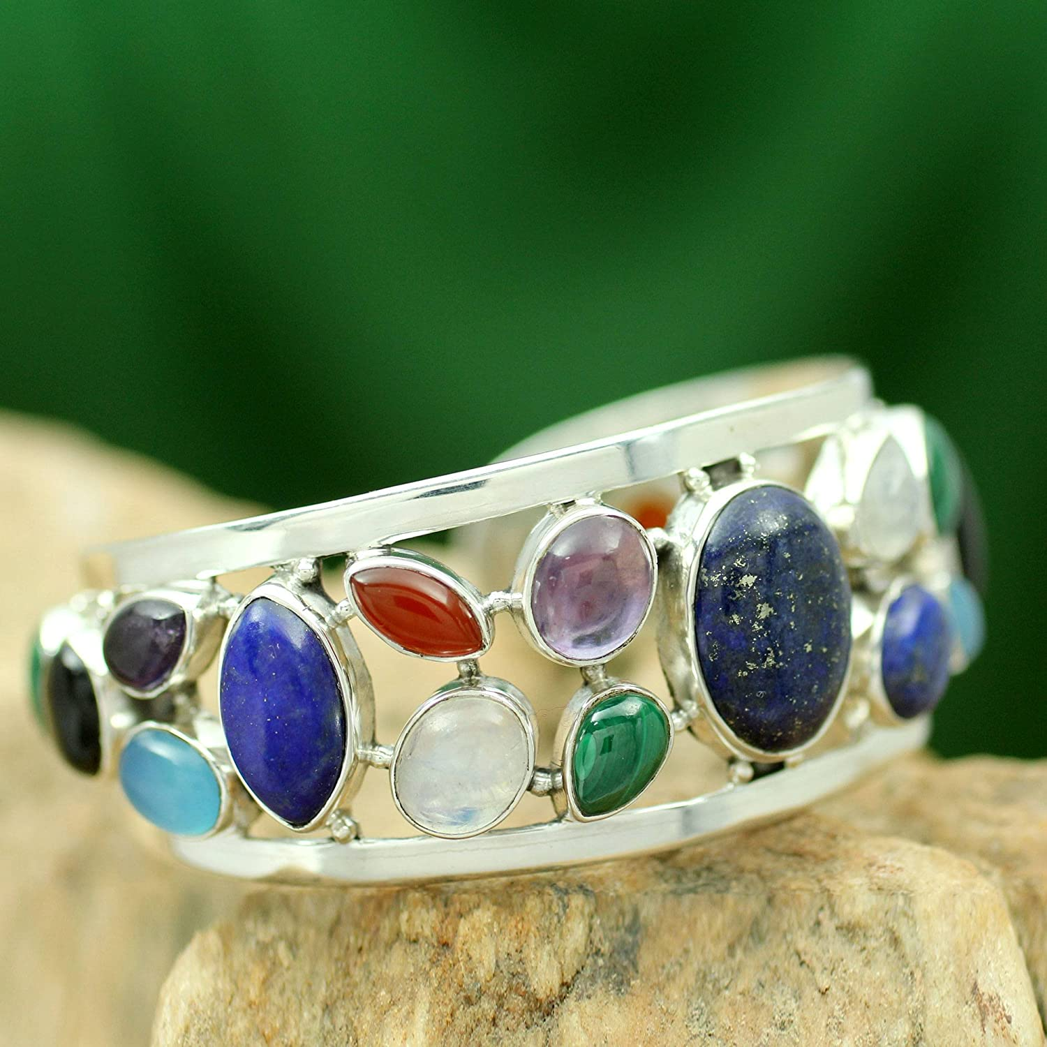 NOVICA Multi-Gem Cultured Freshwater Pearl .925 Sterling Silver Cuff Bracelet Colors of Life