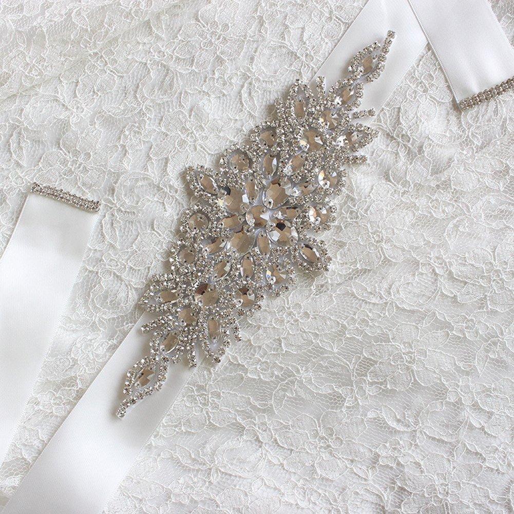 E-Clover Rhinestone Ribbon Sash Belt for Bridal Women's Wedding Dress Belt (Off White) by E-Clover (Image #2)