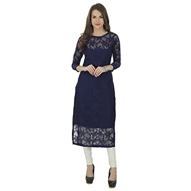 70fb02c57 The Bebo Navy Blue Pure Nylon Net Straight Elegant Kurti for Womens   Girls  (Small. Roll over image to zoom in