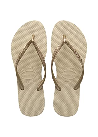 04ef9ec4cd95 Havaianas Women s Hav Slim Gold 4000030.2719.356 Sand Grey Light Golden  Rubber Flip Flops