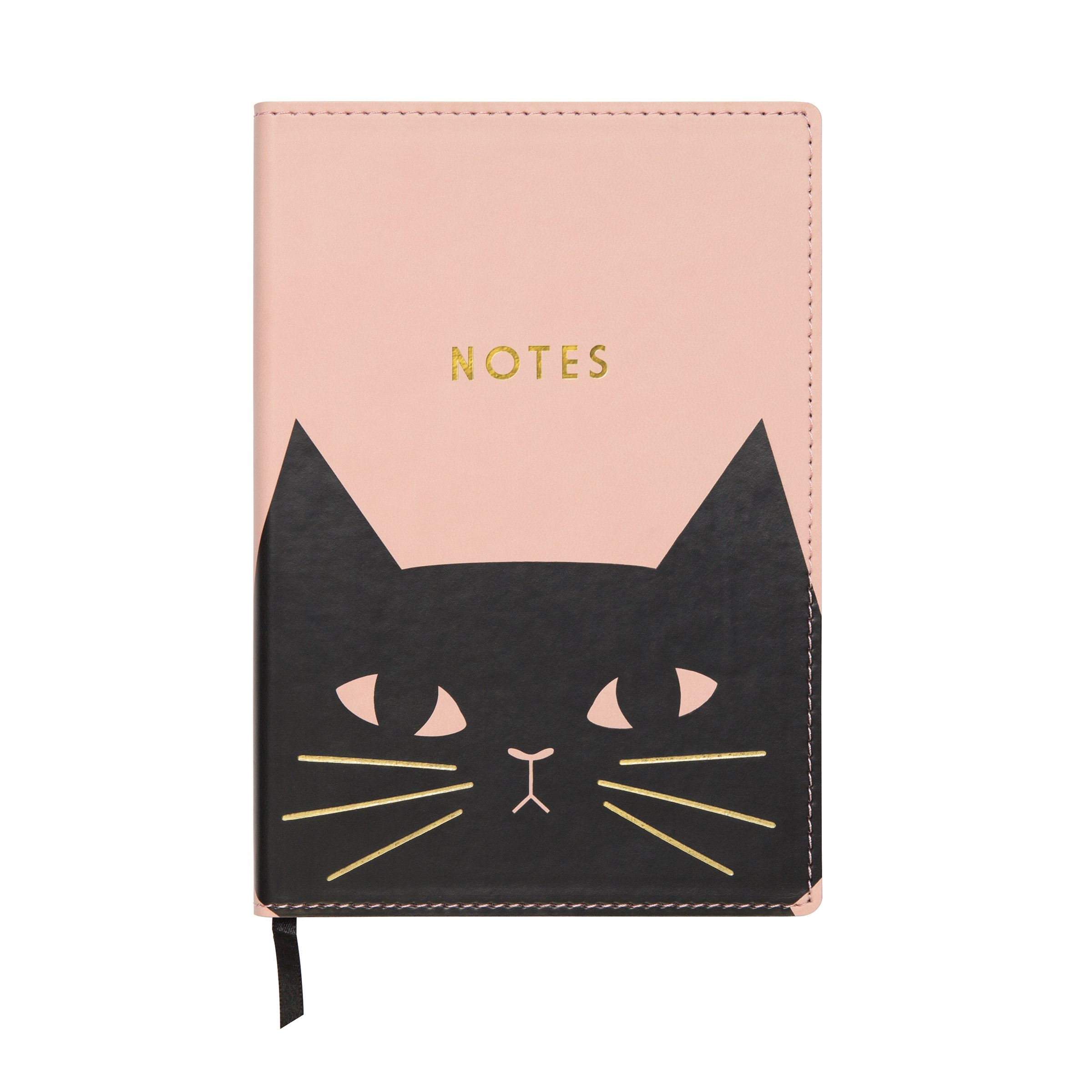 C.R. Gibson Pink 'Black Cat' Leatherette Journal Notebook, 160 Pages, 5.5'' x 8'' (J18-18869)