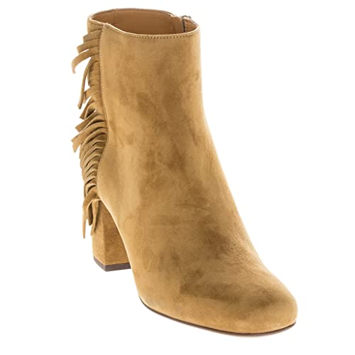 503eee9b828 Saint Laurent Women's 'Babies' Fringed Short Block-Heel Ankle Boot Suede Tan  EU