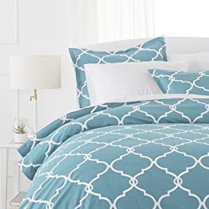 Pinzon 300 Thread Count 100% Cotton Percale Duvet Cover Set - Full or Queen, Spa Blue
