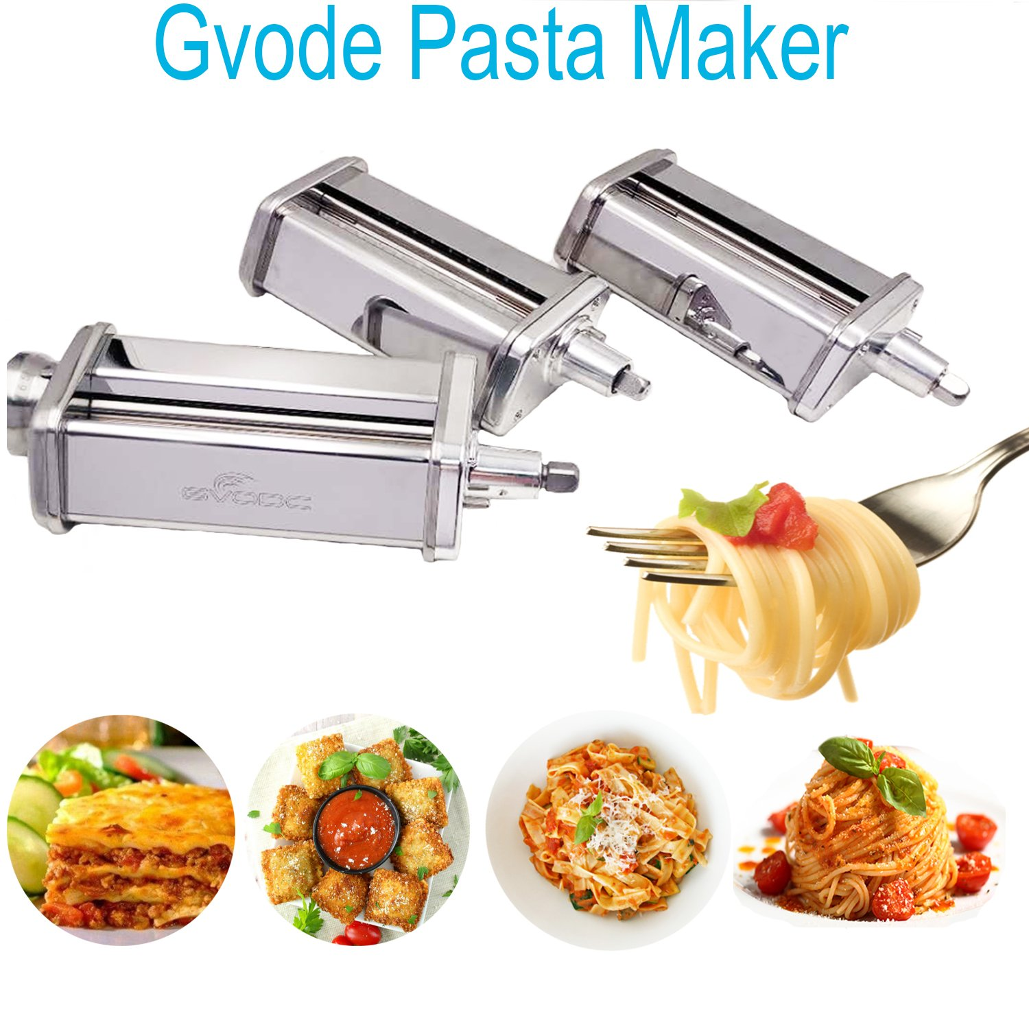 GVODE 3-Piece Pasta Roller and Cutter Set for KitchenAid Stand Mixers,Stainless Steel by GVODE (Image #2)