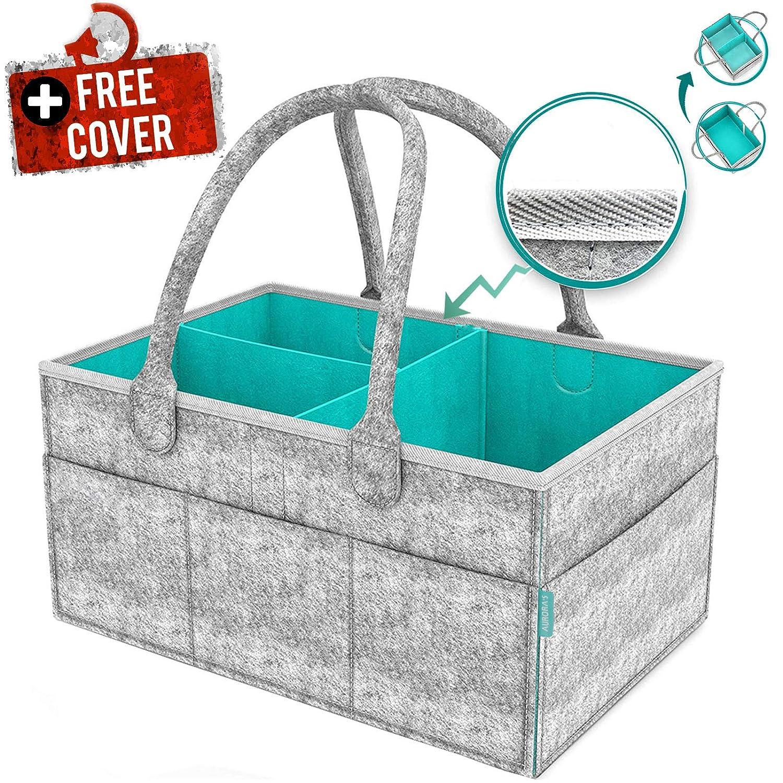 AURORA'S Baby Diaper Caddy Organizer with Cover - Newborn Shower Gift Basket for Mom Dad Bonus - Nursery Diaper Caddy Storage Bin - Portable Car Travel Organizer - Newborn Registry Must Have AURORA' S