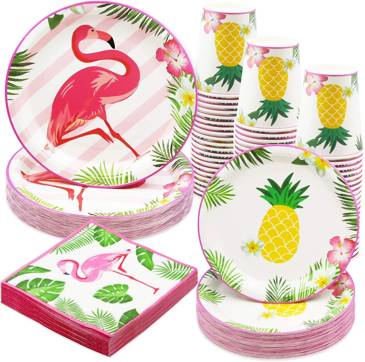 Larchio Hawaiin Luau Party Plates and Napkin Party Supplies, Flamingo Paper Plates and Cup, Paper Napkins for Tropical Luau BirthdayParty Tableware, Serve 24 Guest