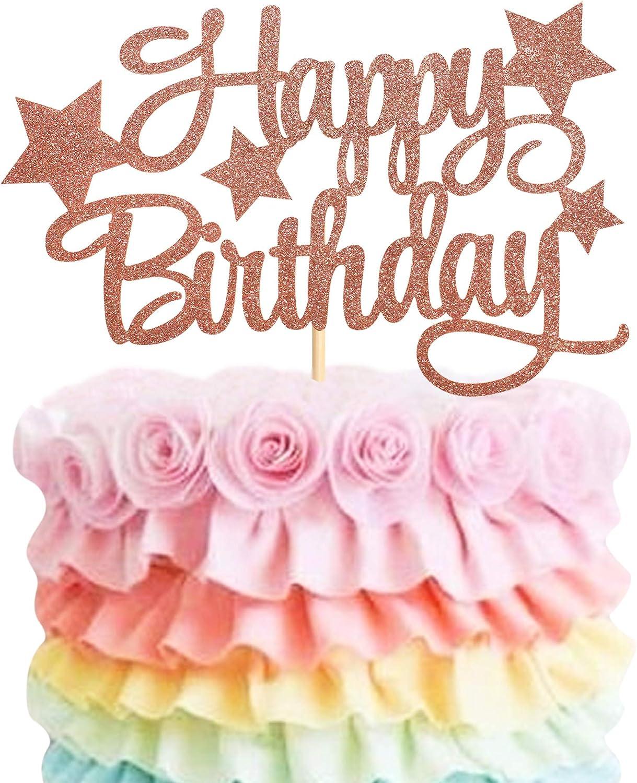 Unimall Global 1 paquete de decoración para tarta de cumpleaños de color oro rosa con purpurina, para niñas, jóvenes, hombres y mujeres, decoración para tartas de cumpleaños
