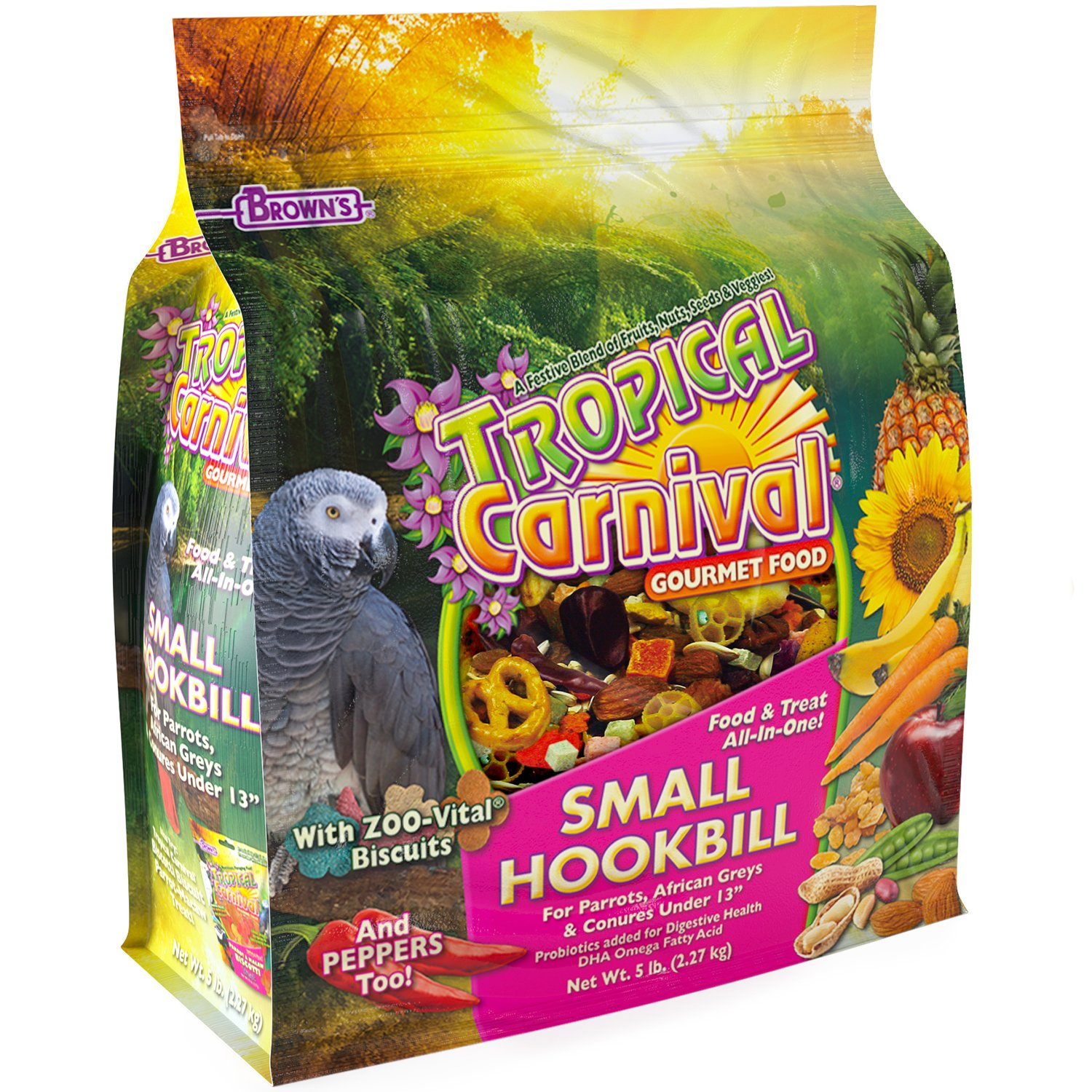 Tropical Carnival F.M. Brown's Gourmet Bird Food Parrots, African Greys Conures Under 13'' - Probiotics Digestive Health, Vitamin-Nutrient Fortified Daily Diet