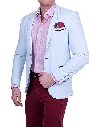 4b9985ef0c10 Herren Casual Polo Leinen-Look Sakko, Gestreifte Feinstruktur, Pastell  Farbe, Slim-Fit Blazer, Einknopf Jackett  Amazon.de  Bekleidung