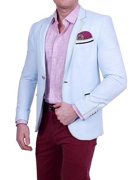 Hombre Casual Polo de lino Look Chaqueta, feinstruktur a rayas, color pastel, Slim-Fit Blazer, extracción por Chaquetas: Amazon.es: Ropa y accesorios