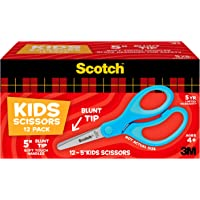 """Scotch 5"""" Soft Touch Blunt Kid Scissors, Blue, 12 Count Teacher's Pack, Ideal for a variety of classroom projects (1442B…"""