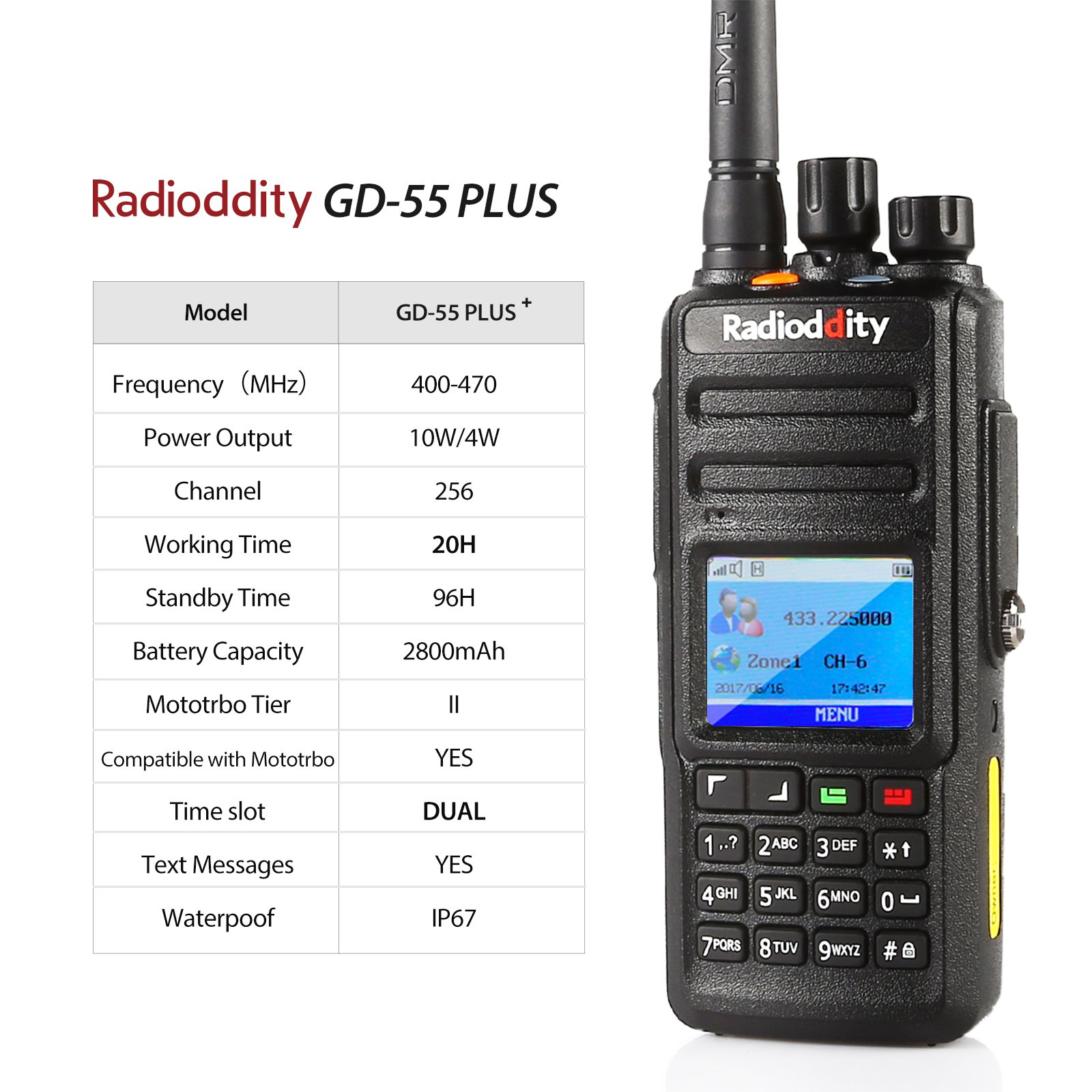 Radioddity GD-55 Plus 10W IP67 Waterproof UHF 400-470MHz 256CH 2800mAh DMR Digital Two Way Radio Ham Radio Compatible with Mototrbo Dual Time Slot, with Free Programming Cable and 2 Antennas by Radioddity (Image #5)