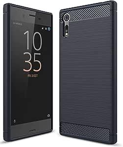 حافظة هاتف سوني اكسبيريا XZ من ألياف الكربون TPU جل نحيفة وخفيفة الوزن باللون الأزرق الداكن