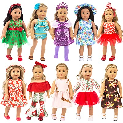 ZITA ELEMENT 23 Pcs Girl Doll Clothes Dress for American 18 Inch Doll Clothes and Accessories - Including 10 Complete Set of Clothing Outfits with Hair Bands, Hair Clips, Crown, Cap and Straw Hat: Toys & Games