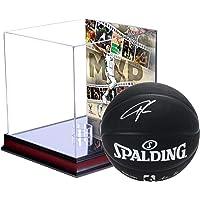$398 » Giannis Antetokounmpo Milwaukee Bucks Autographed Spalding Black Indoor/Outdoor Basketball with 2019 NBA MVP Mahogany…