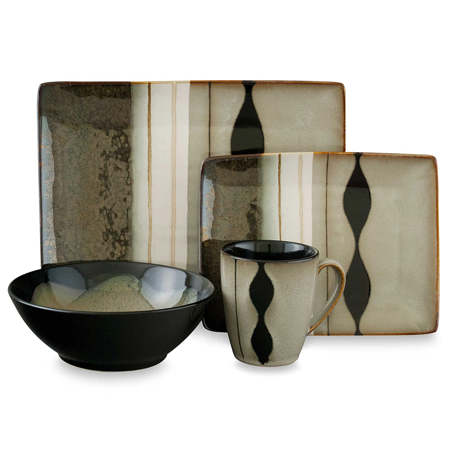 Amazon.com | Sango Prelude Black 16-Piece Dinnerware Set Dinnerware Sets  sc 1 st  Amazon.com & Amazon.com | Sango Prelude Black 16-Piece Dinnerware Set: Dinnerware ...
