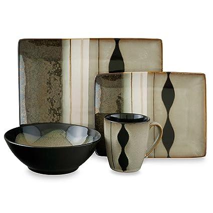 Amazon.com | Sango Prelude Black 16-Piece Dinnerware Set: Dinnerware ...