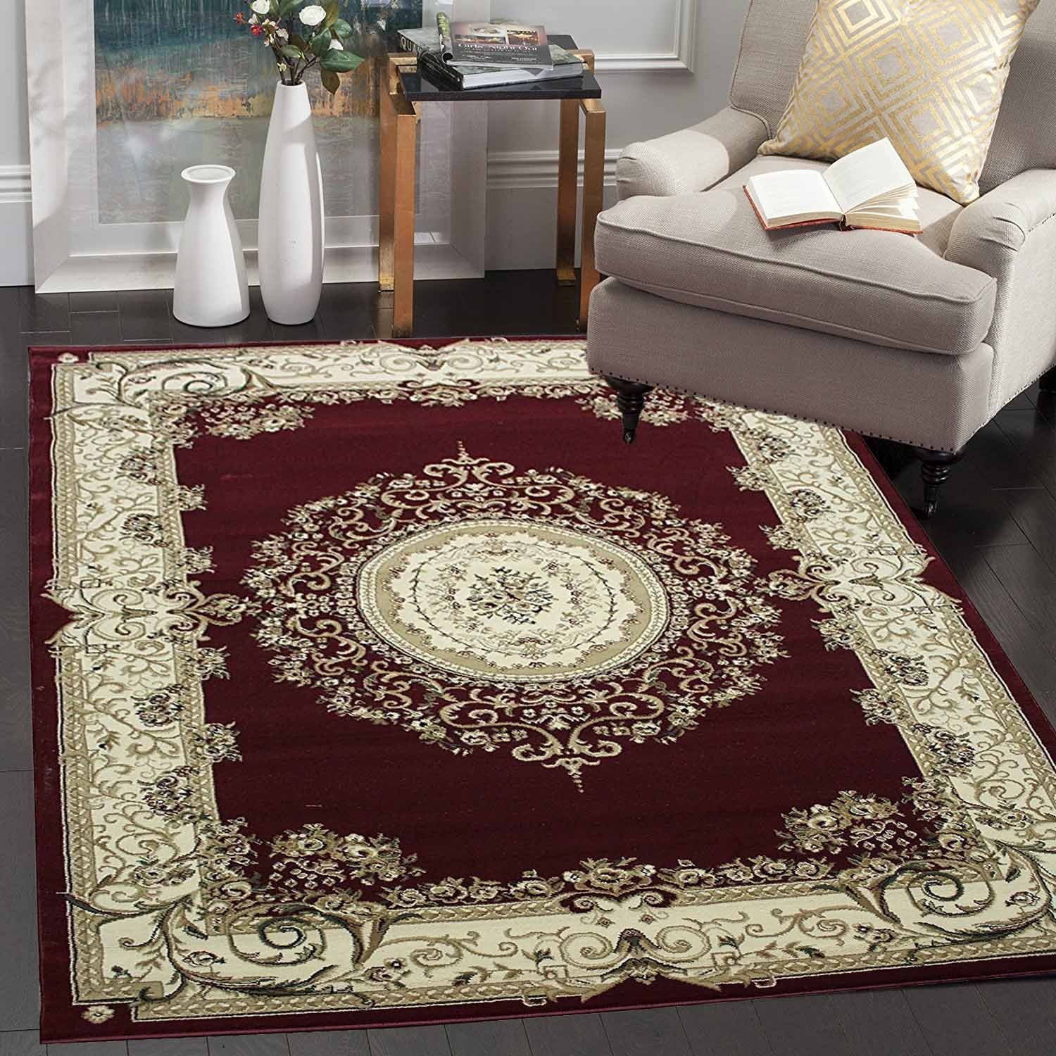 Persian classic dark red burgundy 8x10 area rug oriental floral classic pattern antique living dining room bedroom office carpet easy clean traditional soft