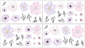 Sweet JoJo Designs Purple and Grey Watercolor Floral Peel and Stick Wall Decal Stickers Art Nursery Decor - Set of 4 Sheets - Lavender, Pink, Gray and White Rose Flower