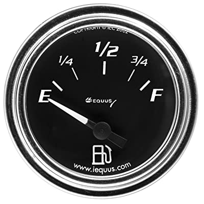 "Equus 7363 2"" Fuel Level Gauge, Chrome with Black Dial: Automotive"