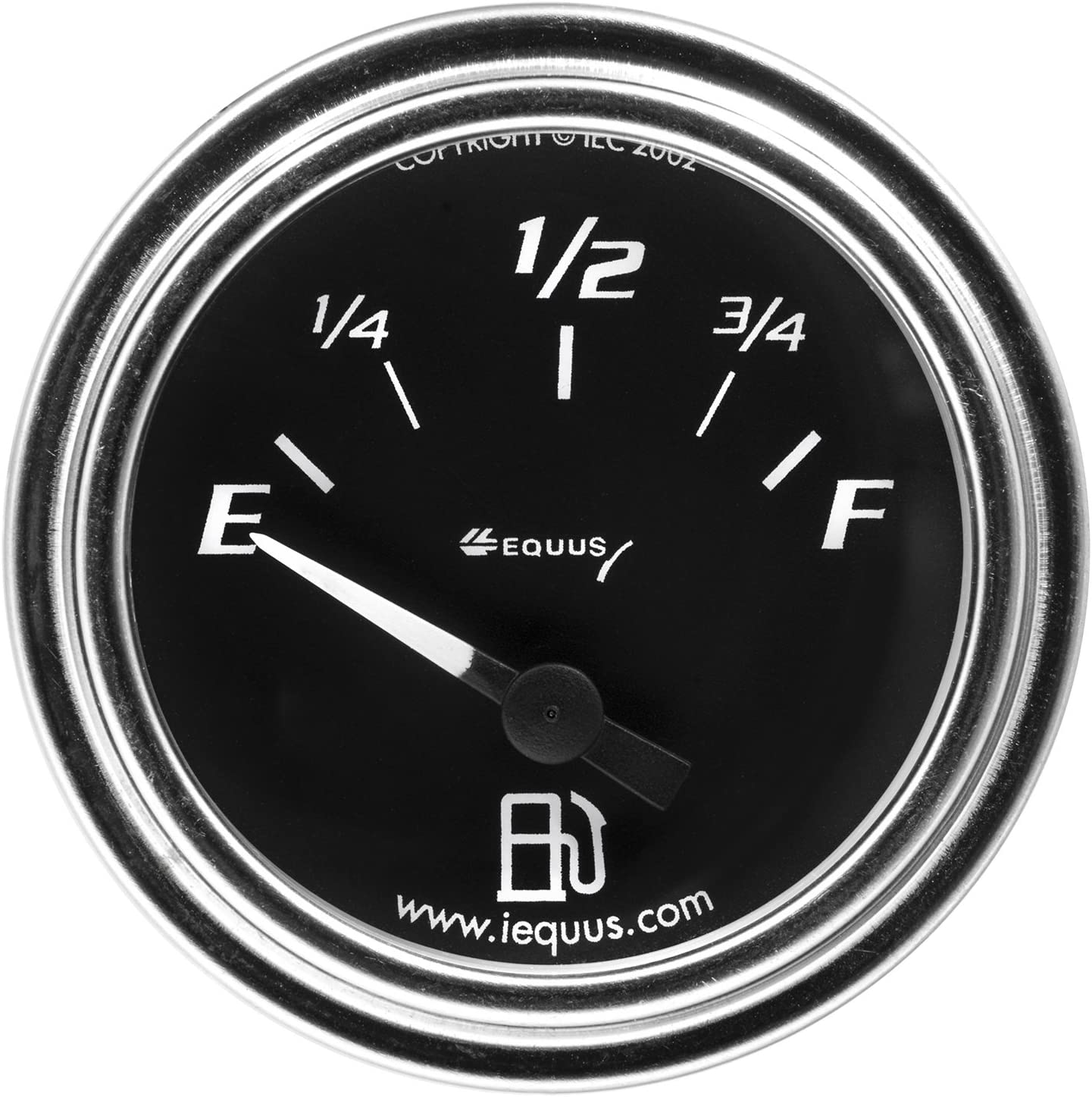 "Equus 7362 2"" Fuel Level Gauge, Chrome with Black Dial"