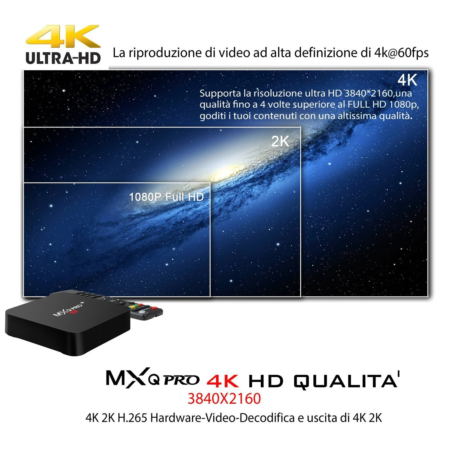Amazon.com: MXQ PRO+ WIFI HDMI Player 4K Quad Core S905X HD Android 7.1.2 Smart TV BOX 2GB RAM+16GROM: Electronics
