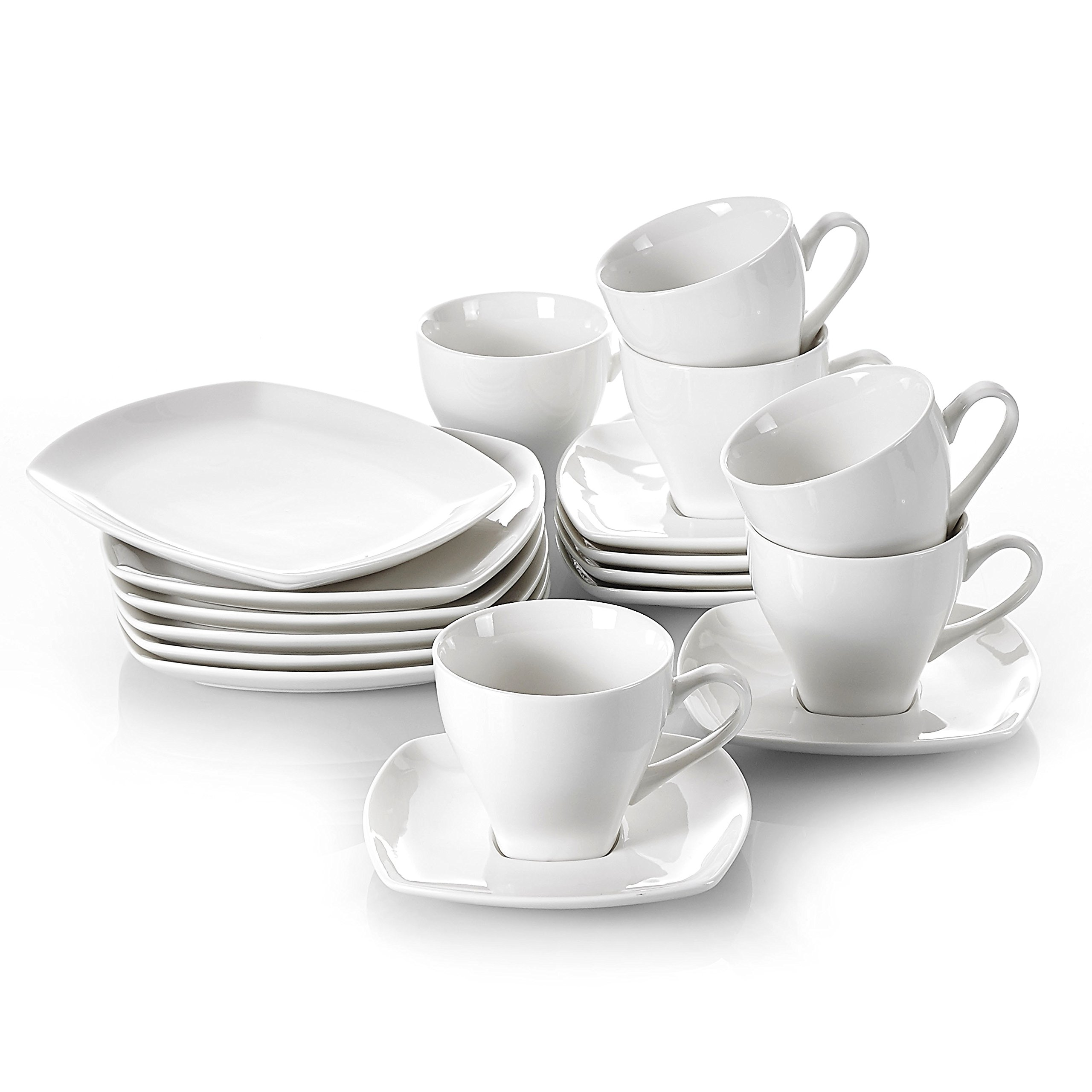 V VANCASSO Ivory Porcelain Snack Plate and Cup Set, Teacup and Saucer Set with Dessert Plates for 6, 18-Piece …