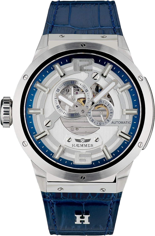 Reloj de pulsera analógico y automático para hombre con correa de piel de becerro GG-200 de Hğmer.