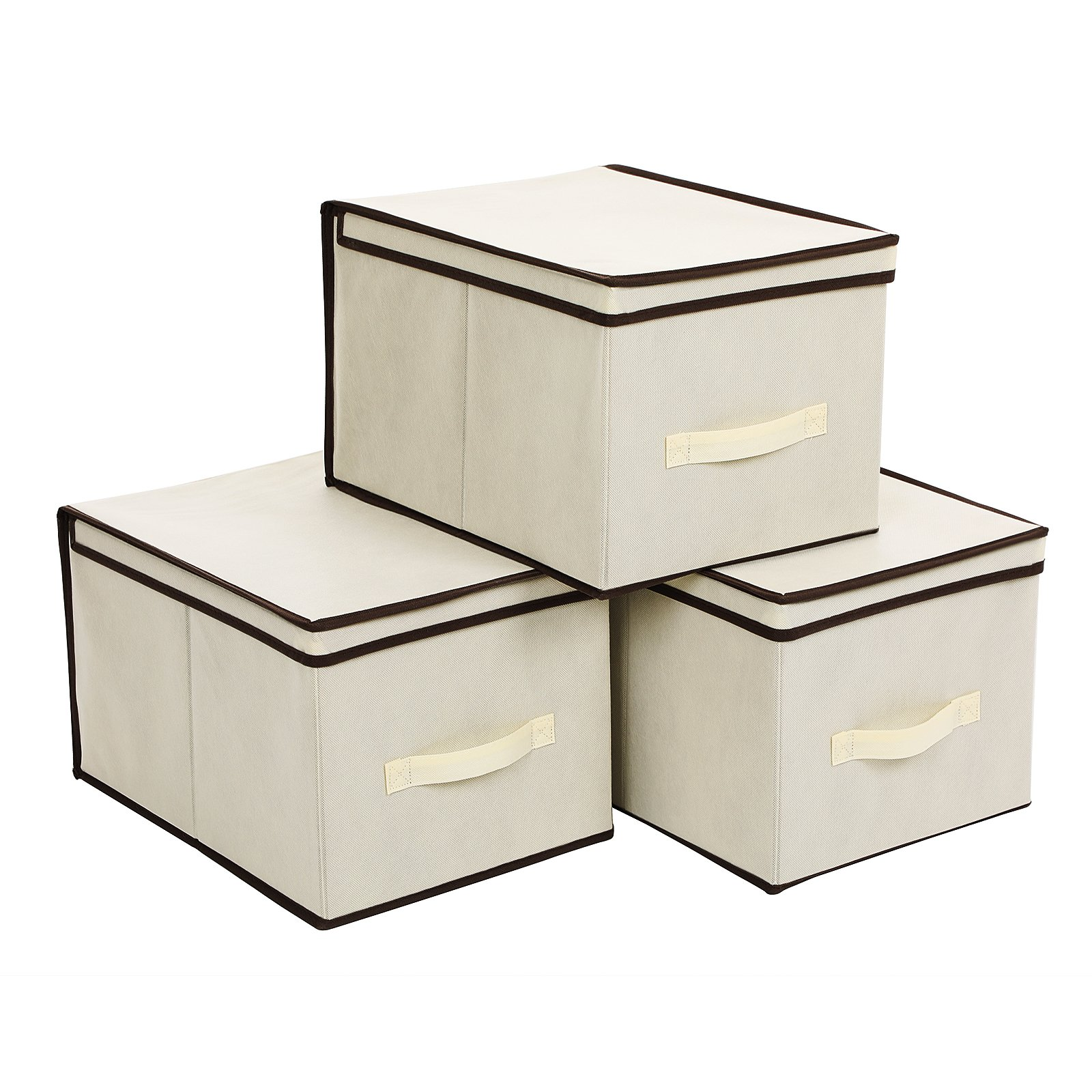 SONGMICS Set of 3 Large Storage Container with Lids Foldable Storage Box with Lids Beige URLB40M
