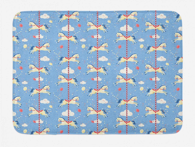 Plush Bathroom Decor Mat with Non Slip Backing American National Symbol Bald Falcon Bird Landscape Pattern 23.6 W X 15.7 L Inches Eagle Bath Mat Pale Sky Blue Dark Brown and Emerald
