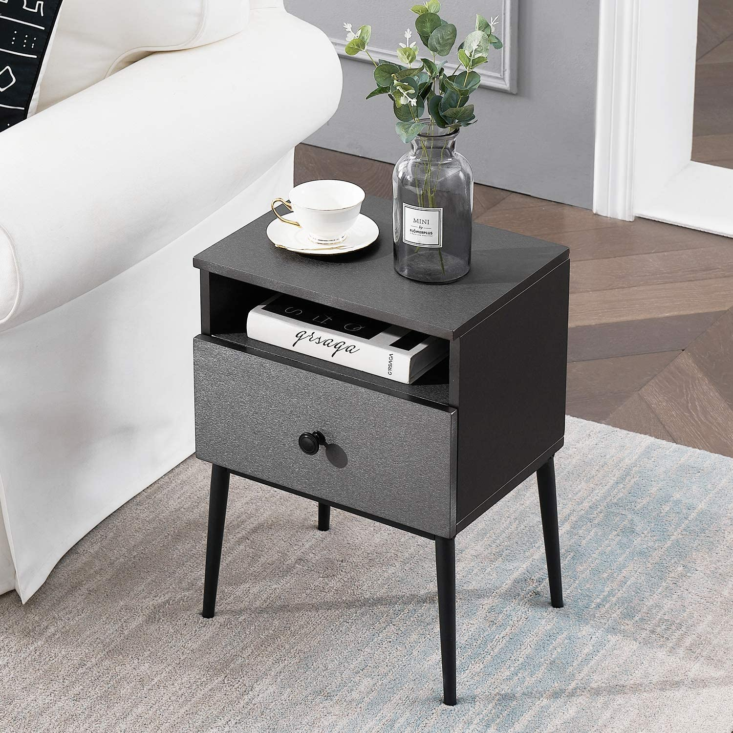 VECELO Night Stand,Square End Side Table with 1 Drawer and Storage Space Modern nightstands for Living Room,Bedroom, Gray